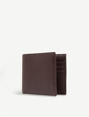 RALPH LAUREN Pony-embossed pebbled leather wallet