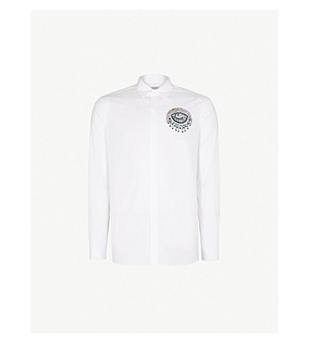 VALENTINO Embellished regular-fit cotton shirt (White