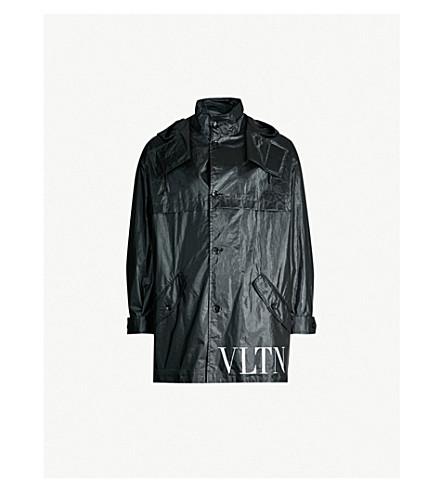 VALENTINO VLTN logo-print cotton coat (Black