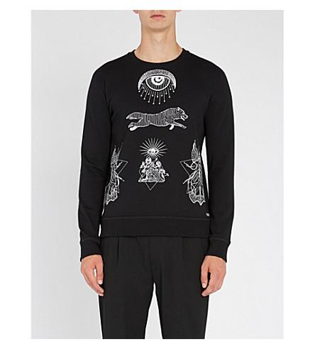 VALENTINO Eye-print cotton-jersey sweatshirt (Black