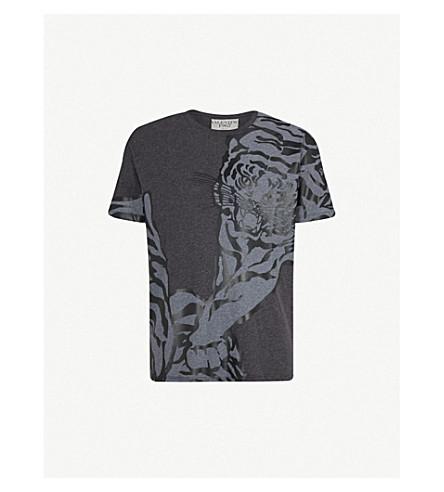 VALENTINO Tiger-print cotton-jersey T-shirt (Charcoal