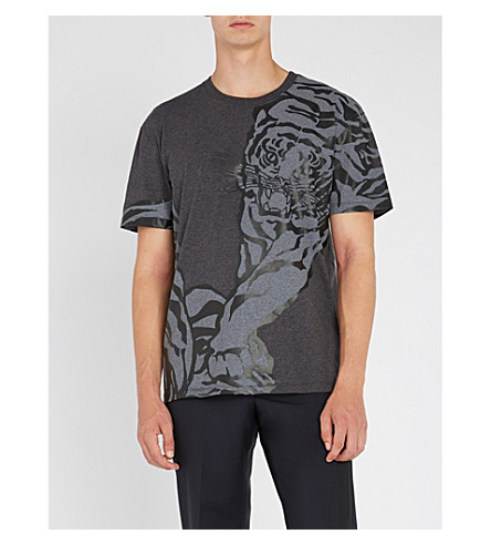 VALENTINO Tiger-print cotton-jersey T-shirt (Charcoal