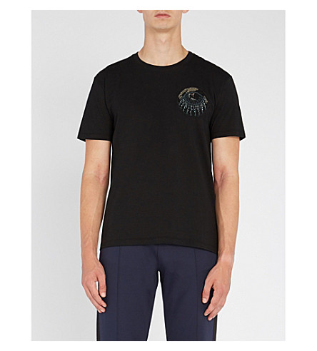 VALENTINO Bead-embellished cotton-jersey T-shirt (Black
