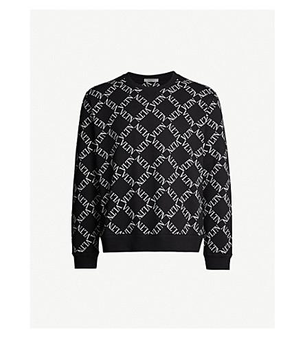 VALENTINO Logo-print cotton-blend sweatshirt (Nero/bianco