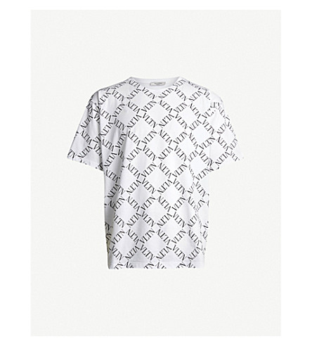 VALENTINO Logo-print cotton-jersey T-shirt (Bianco/nero