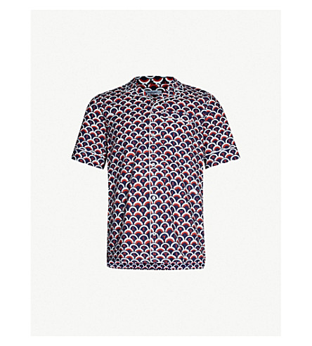VALENTINO Logo-print regular-fit cotton shirt (Valentino scale blu