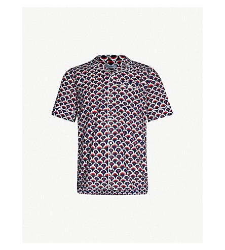 VALENTINO标志印刷合身棉衬衫 (Valentinoblu