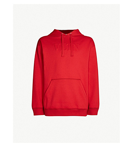 VALENTINO Logo-embossed cotton-blend hoody (Rosso