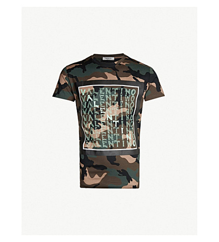 VALENTINO Camouflage-print cotton-jersey T-shirt (Camou army