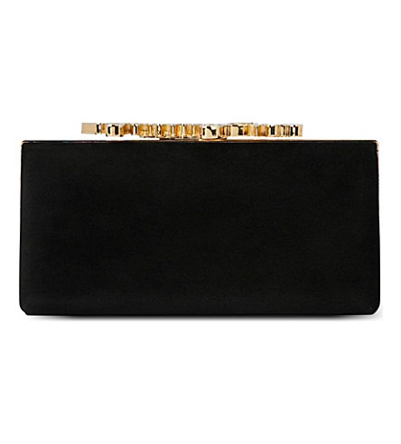 JIMMY CHOO Celeste suede logo clutch (Black