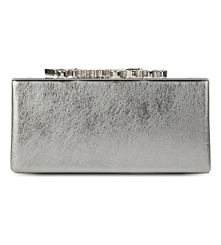 JIMMY CHOO Celeste metallic-leather clutch (Vintage+silver