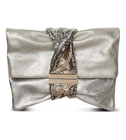 JIMMY CHOO Chandra M metallic-leather shoulder bag (Silver
