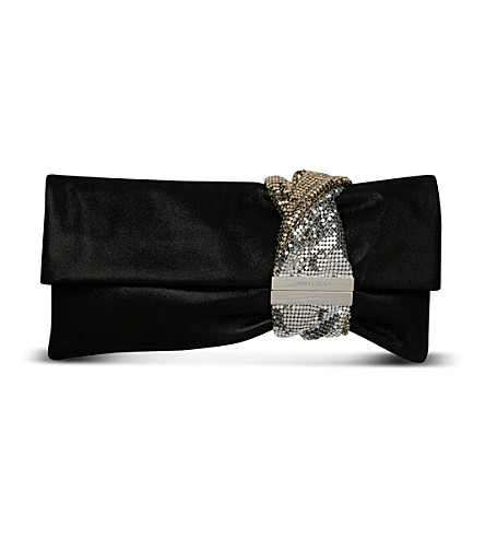 JIMMY CHOO Chandra suede clutch (Black