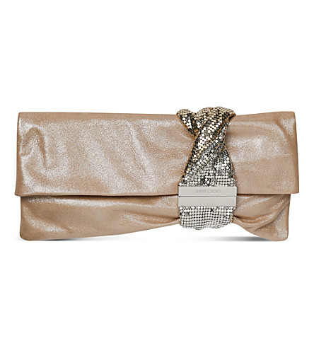 JIMMY CHOO Chandra leather clutch (Sand