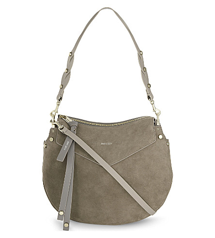 JIMMY CHOO Artie suede shoulder bag (Light+mocha
