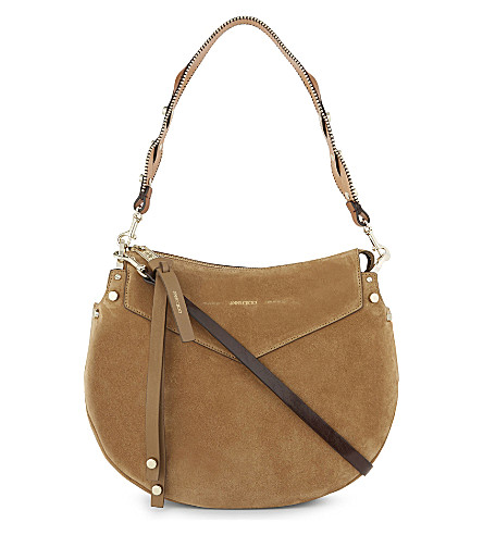 JIMMY CHOO Artie suede shoulder bag (Hazel+gold
