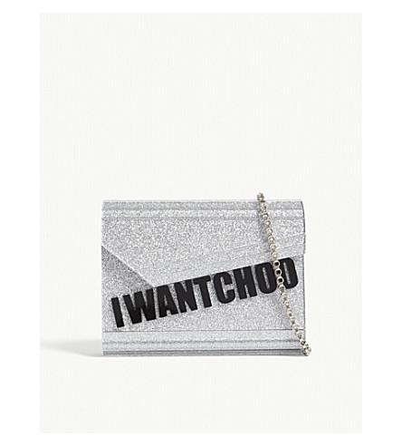 JIMMY CHOO Candy I Want Choo acrylic glitter clutch (Silver