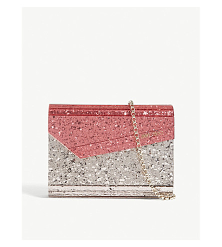 JIMMY CHOO Candy glitter clutch bag (Flamingo/+ballet+pink