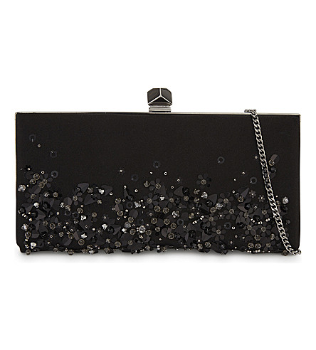JIMMY CHOO Celeste sequin and satin clutch bag (Black