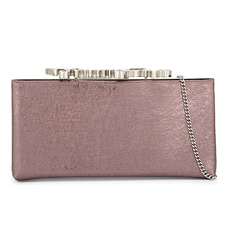 JIMMY CHOO Celeste metallic-leather logo clutch (Vintage rose