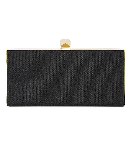 JIMMY CHOO Celeste glitter fabric clutch (Black