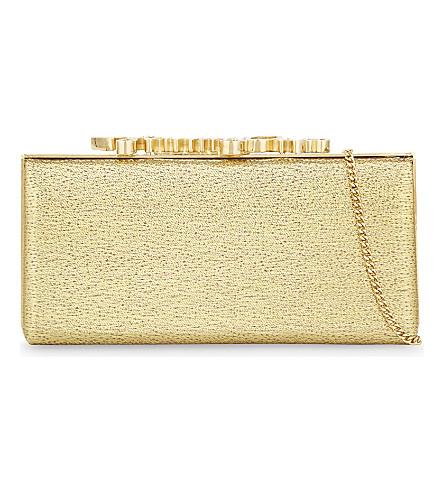 JIMMY CHOO Celeste woven lamé logo clutch (Gold