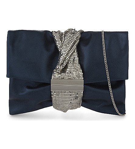 JIMMY CHOO Chandra leather shoulder bag (Dusk+blue