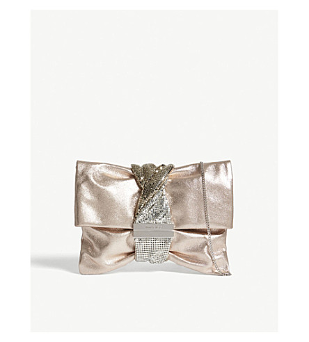 JIMMY CHOO Chandra metallic leather clutch (Ballet+pink