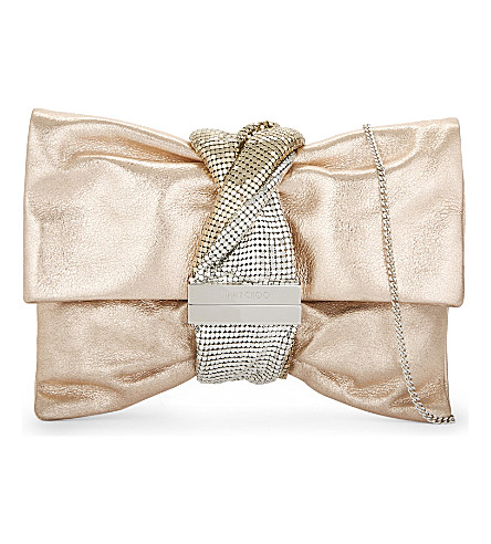 JIMMY CHOO Chandra metallic-leather clutch (Ballet+pink