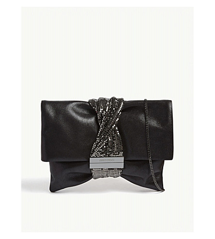 JIMMY CHOO Chandra metallic-leather clutch (Black