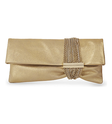 JIMMY CHOO Chandra metallic-leather clutch (Gold