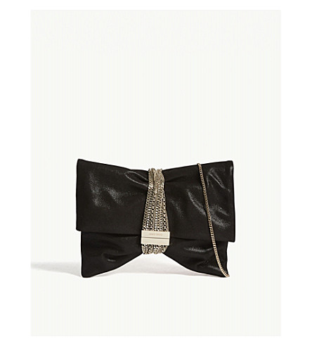 Chandra metallic suede clutch