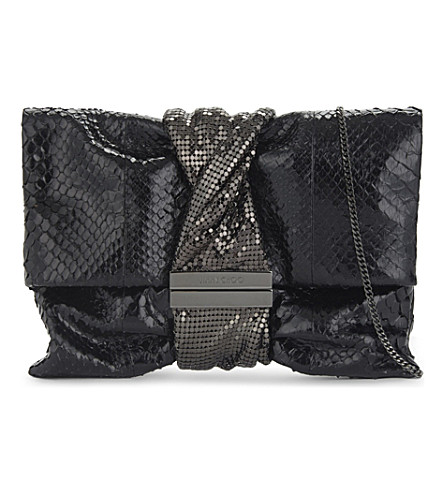 JIMMY CHOO Chandra python clutch (Black