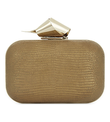 JIMMY CHOO Cloud snake-embossed leather clutch (Antique+gold