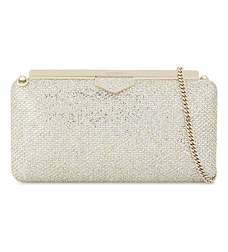 JIMMY CHOO Ellipse glitter clutch (Champagne