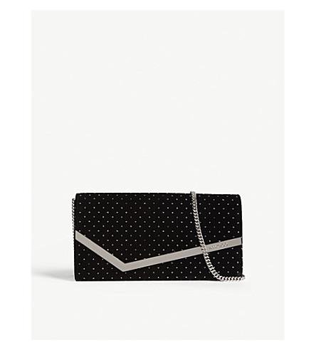 JIMMY CHOO Emmie metallic polka dot velvet clutch (Black