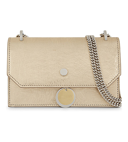 JIMMY CHOO Finley leather cross-body bag (Gold