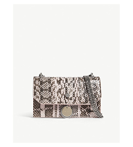 JIMMY CHOO Finely python-embossed leather mini cross-body bag (Rosewater