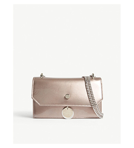 JIMMY CHOO Finley metallic patent leather and suede shoulder bag (Ballet+pink