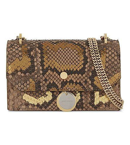JIMMY CHOO Finley python cross-body bag (Hazel+gold