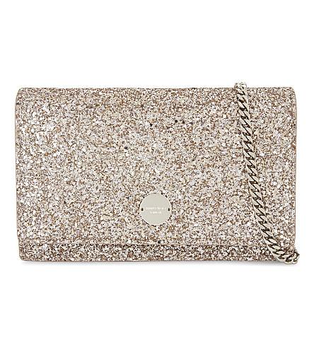 JIMMY CHOO Florence coarse glitter clutch (Ballet+pink
