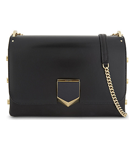 JIMMY CHOO Lockett leather shoulder bag (Black+gold