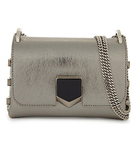 JIMMY CHOO Lockett mini metallic leather shoulder bag (Silver