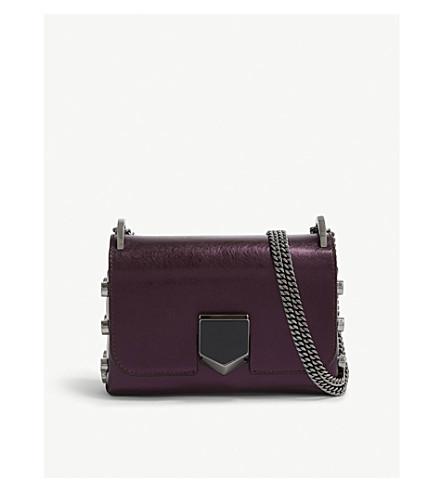 JIMMY CHOO Lockett Petite leather cross-body bag (Grape