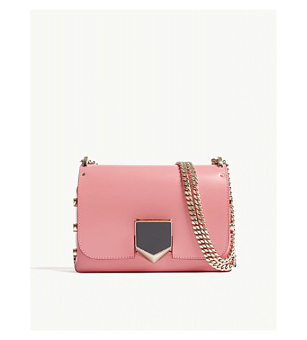 JIMMY CHOO Lockett Petite leather shoulder bag (Flamingo
