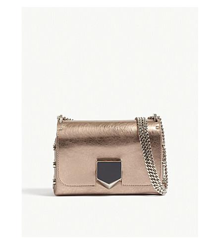 JIMMY CHOO Lockett petite metallic leather shoulder bag (Rose+gold