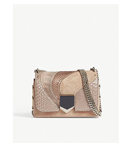 JIMMY CHOO Lockett suede and python-embossed leather shoulder bag (Ballet+pink