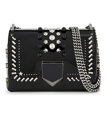 JIMMY CHOO Lockett Petite leather shoulder bag (Black+gold