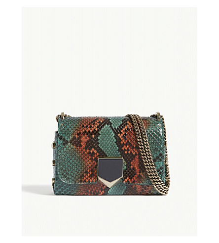 JIMMY CHOO Lockett python-embossed leather shoulder bag (Emerald