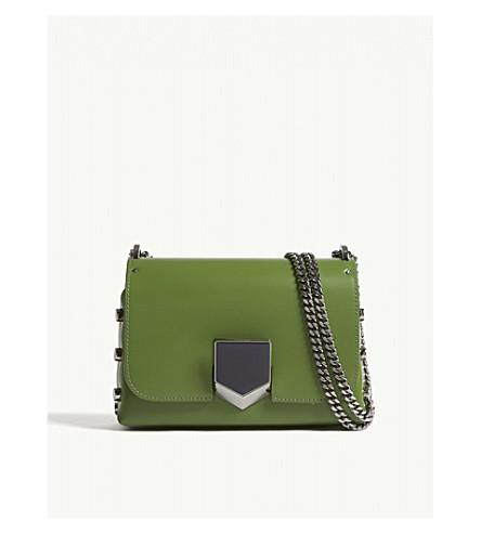 JIMMY CHOO Lockett Petite leather shoulder bag (Lime
